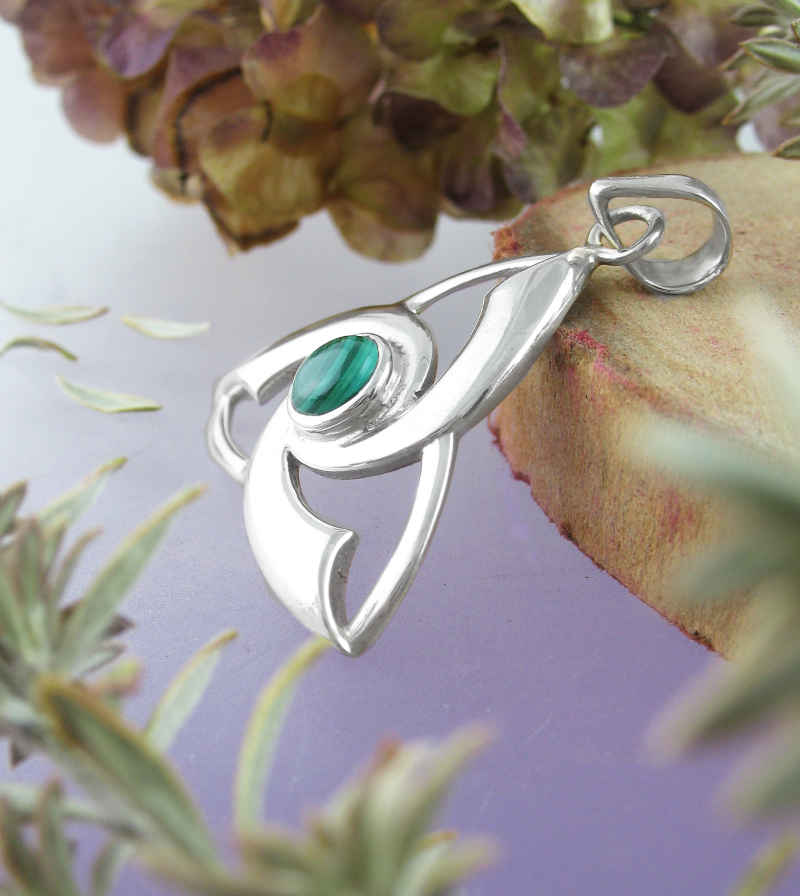 Flared Celtic Triquetra Pendant With Malachite Centerpiece | woot & hammy