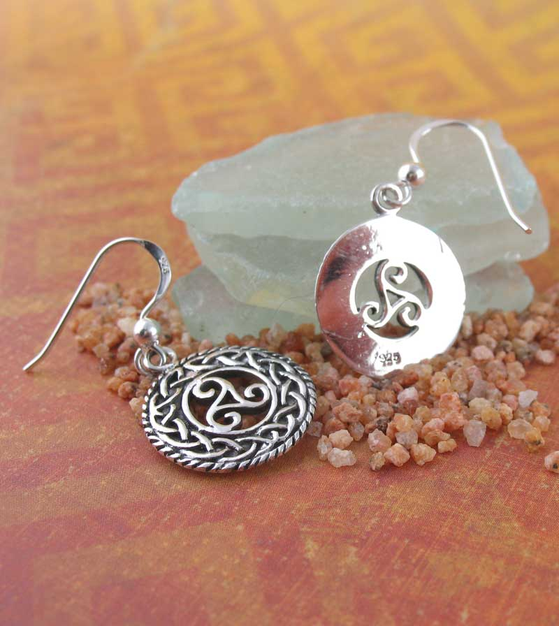 Triskelion Triskele Medallion Dangle Earrings with Celtic Knot Borders Sterling Silver