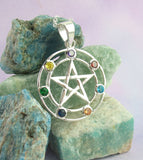 7 Chakra Pentacle Pendant Necklace Crystals Sterling Silver