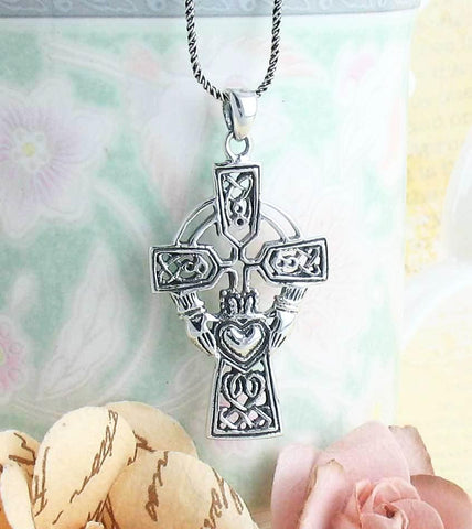 Claddagh Celtic Cross Necklace - woot & hammy