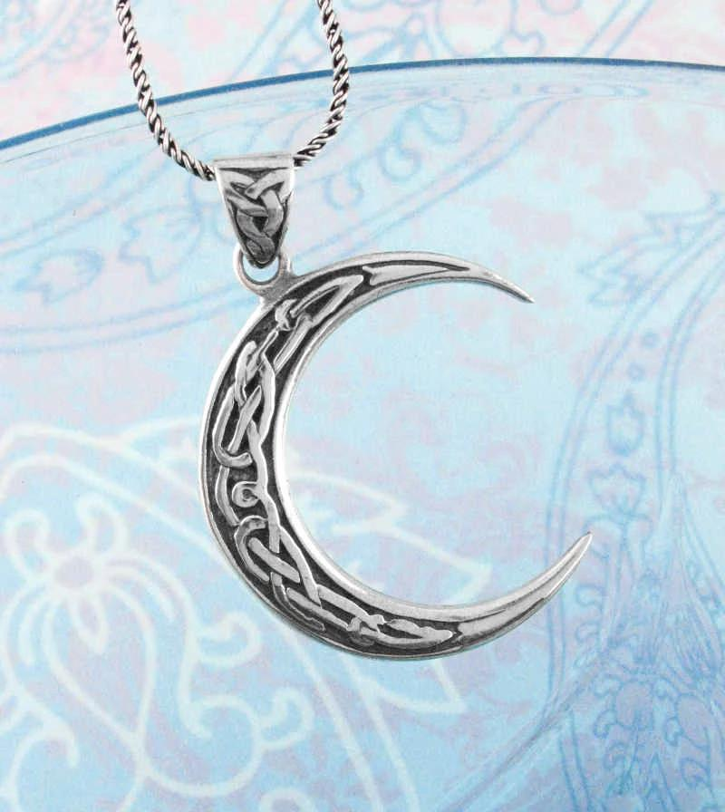 Crescent Celtic Moon Necklace With Knots Inlay | woot & hammy thoughtful jewelry