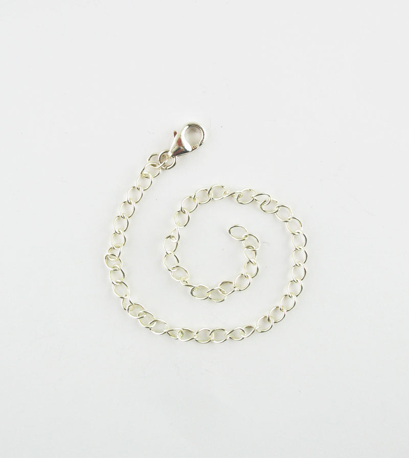 Unplated Sterling Silver Curb Extender Chains w/ 8 mm Lobster Clasp
