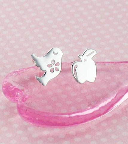 Cute Bird & Apple Earrings - woot & hammy