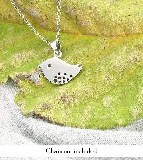 Tiny Bird Charm Necklace in Sterling Silver w/ Spotted Bottom