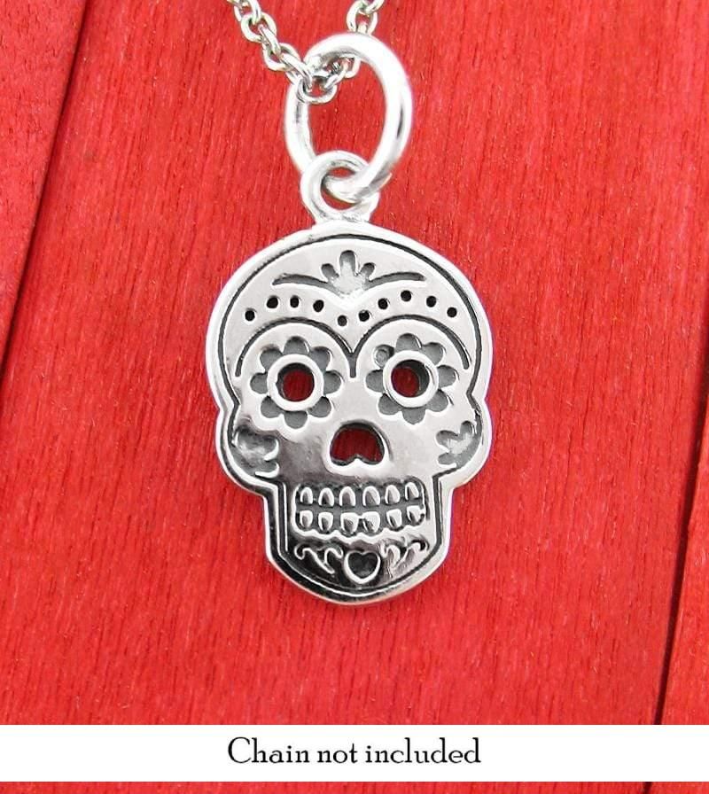 Day of the Dead Dia de los Muertos Sugar Skull Necklace Sterling Silver