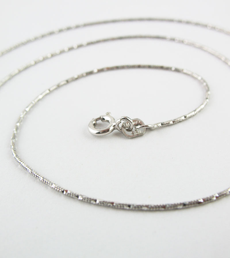 1 mm Diamond-Cut Rhodium-Plated Sterling Silver Snake Chain