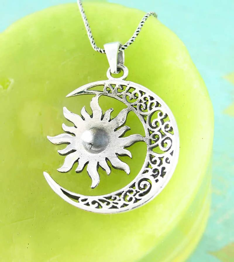 Filigree Crescent Moon With Dome Sun Necklace | woot & hammy thoughtful jewelry