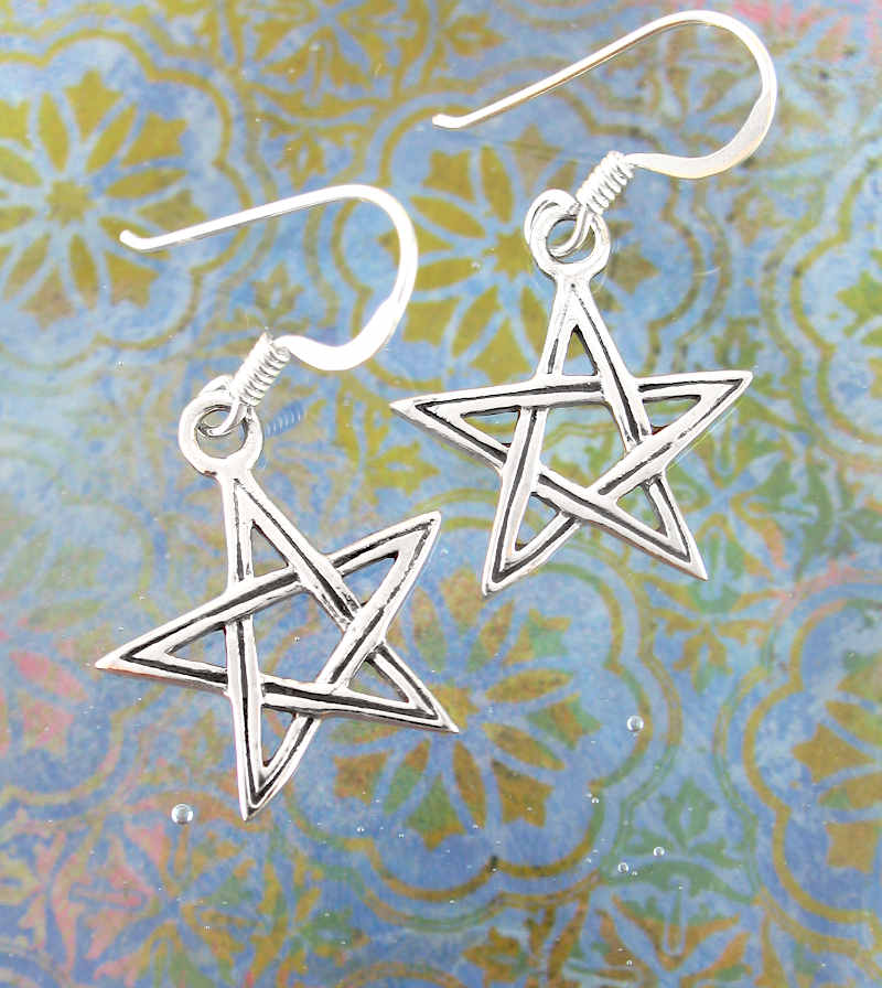 Double Line Cut-Out Pentagram Hook Earrings | woot and hammy thoughtful jewelry