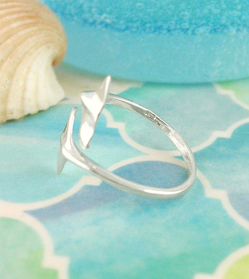 Double Diving Whales' Tails Flukes Adjustable Ring Sterling Silver | woot & hammy thoughtful jewelry