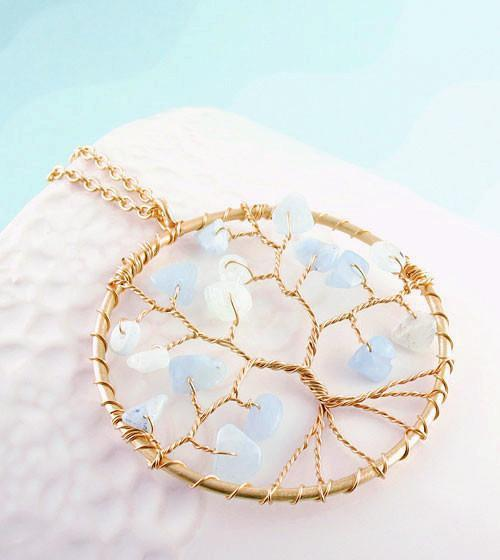 Gold Plated Tree of Life Wire Wrapped Necklace with Aquamarine - woot & hammy