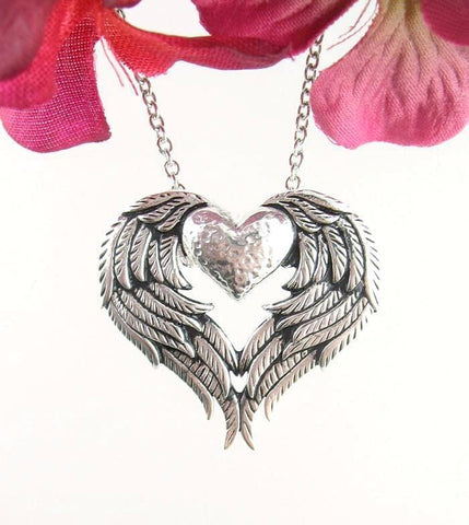 Angel Wings Heart Necklace in Sterling Silver