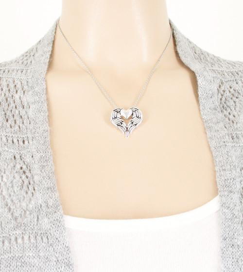 Love of Angels Heart-Shaped Wings Necklace - woot & hammy