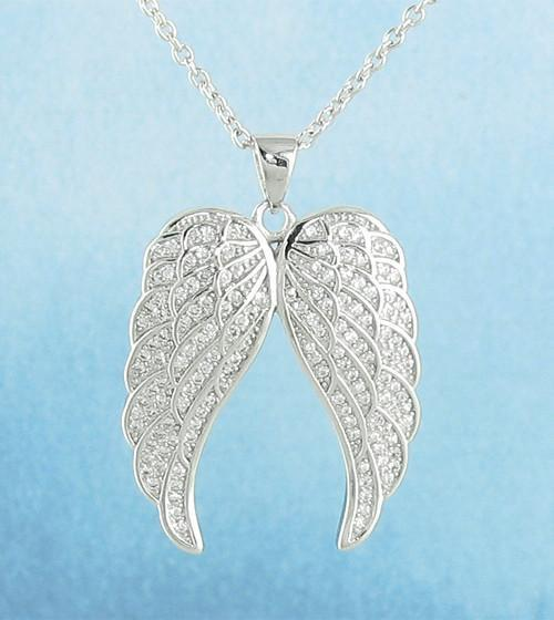 Pair of Angel Wings Necklace in Sterling Silver Cubic Zirconia Crystals