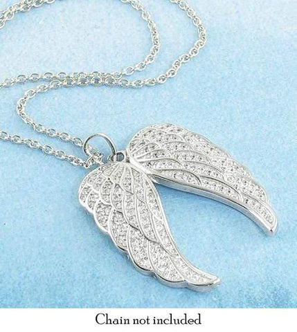 Pair Of Angel Wings Necklace In Sterling Silver Amp Cubic