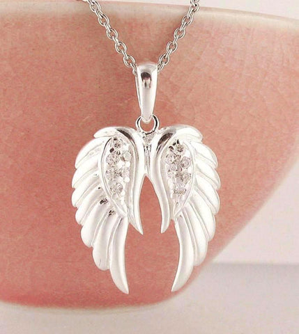Pair of Angel Wings Necklace in Sterling Silver & Cubic Zirconia