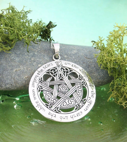 moon pentacle necklace in sterling silver pagan goddess