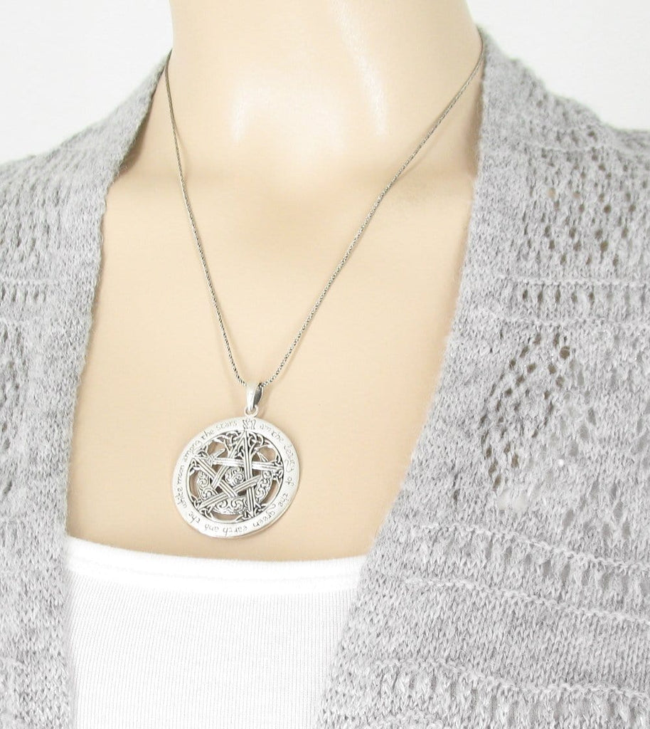 I am the Beauty of the Green Earth Moon Pentacle Necklace - woot & hammy