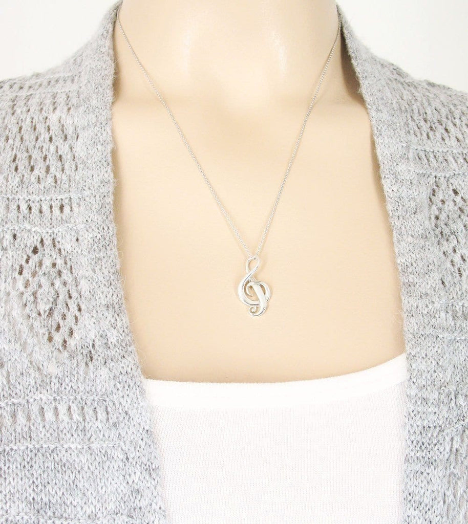 Elegant Swirl Treble Clef Necklace - woot & hammy