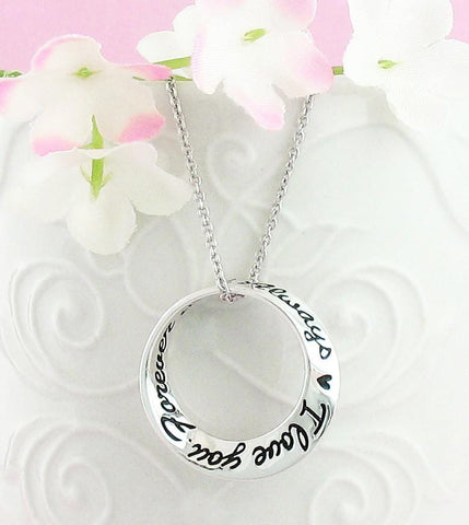 'I Love You Forever & Always' Mobius Necklace in Sterling Silver