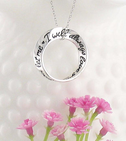 'I Will Always Love You, If You Let Me' Mobius Necklace in Sterling Silver