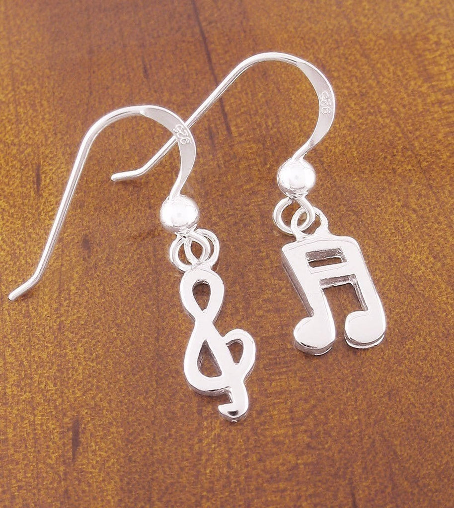 Treble Clef & Music Note Dangle Earrings in Sterling Silver-Passions > Music Earrings-woot & hammy
