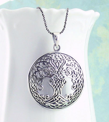 Ornate Celtic Tree of Life Necklace in Sterling Silver