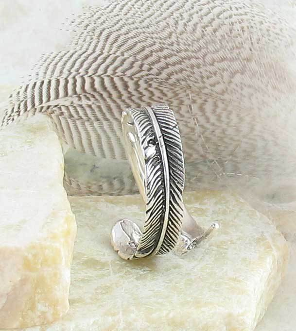 Antiqued Feather Wrap Ring - Adjustable - woot & hammy