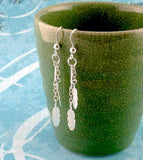 Tiny Feather & Chain Dangle Earrings - woot & hammy
