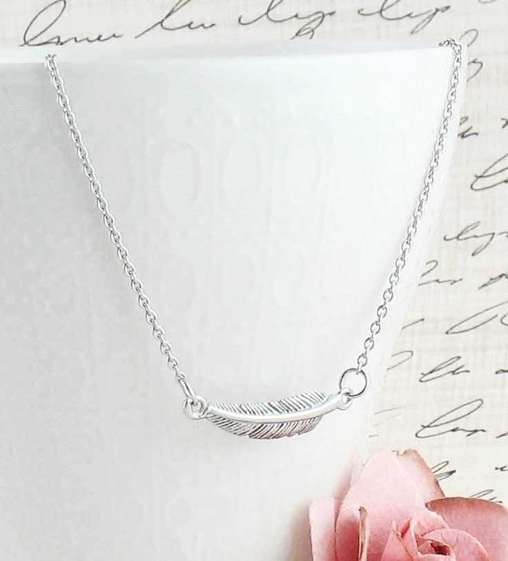 Curved Sideways Feather Necklace - woot & hammy