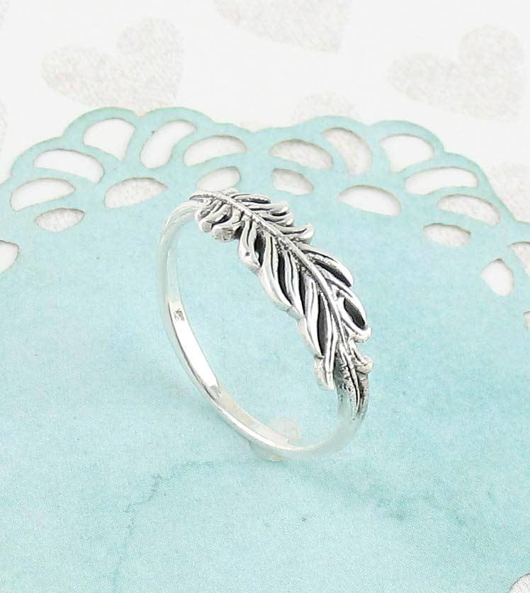 Ruffled Feather Ring in Sterling Silver