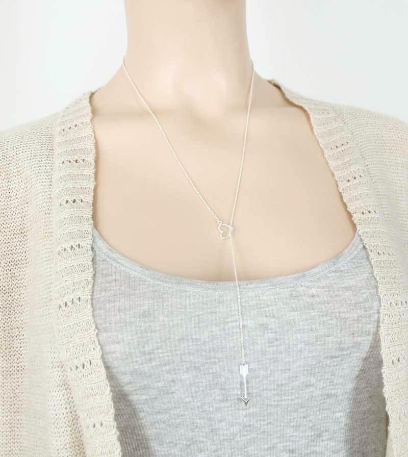 Arrow Through Heart Lariat Necklace - woot & hammy