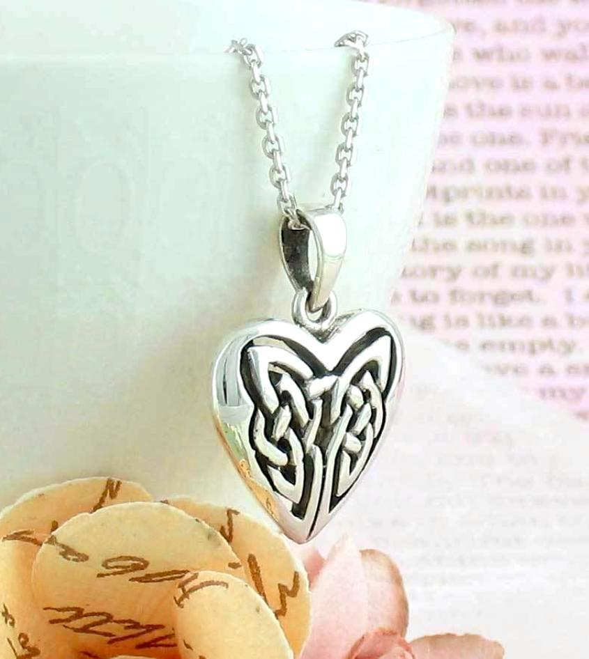 Celtic knot heart necklace in sterling silver free shipping in usa celtic knot heart necklace in sterling silver aloadofball Images