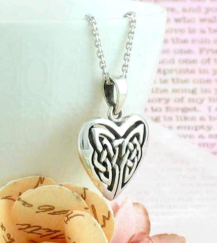 Celtic Knot Heart Necklace in Sterling Silver