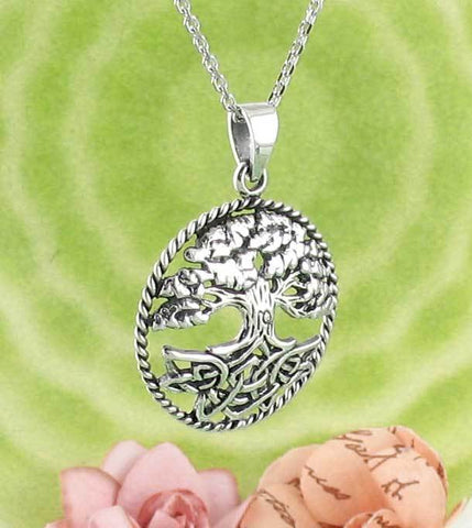 Celtic Solid Silver Green Crystal Tree of Life Pendant lJRNUj7M80