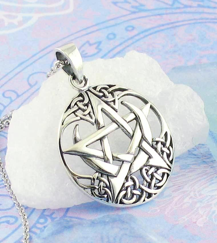 Celtic Moon Pentacle Necklace - woot & hammy