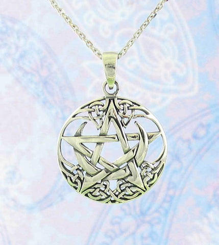 Celtic moon pentacle necklace in sterling silver pentagram celtic moon pentacle necklace woot hammy aloadofball Image collections