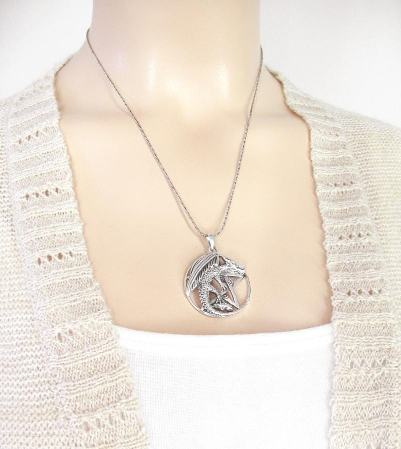 Winged Dragon on Pentacle Cut-Out Necklace | woot & hammy thoughtful jewelry