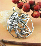 Winged Dragon on Pentacle Pendant