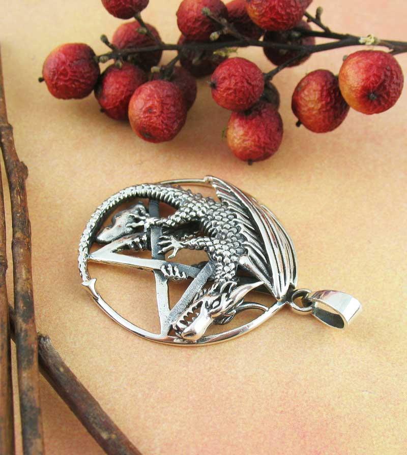 Winged Dragon on Pentacle Pendant Wiccan Pagan Fantasy