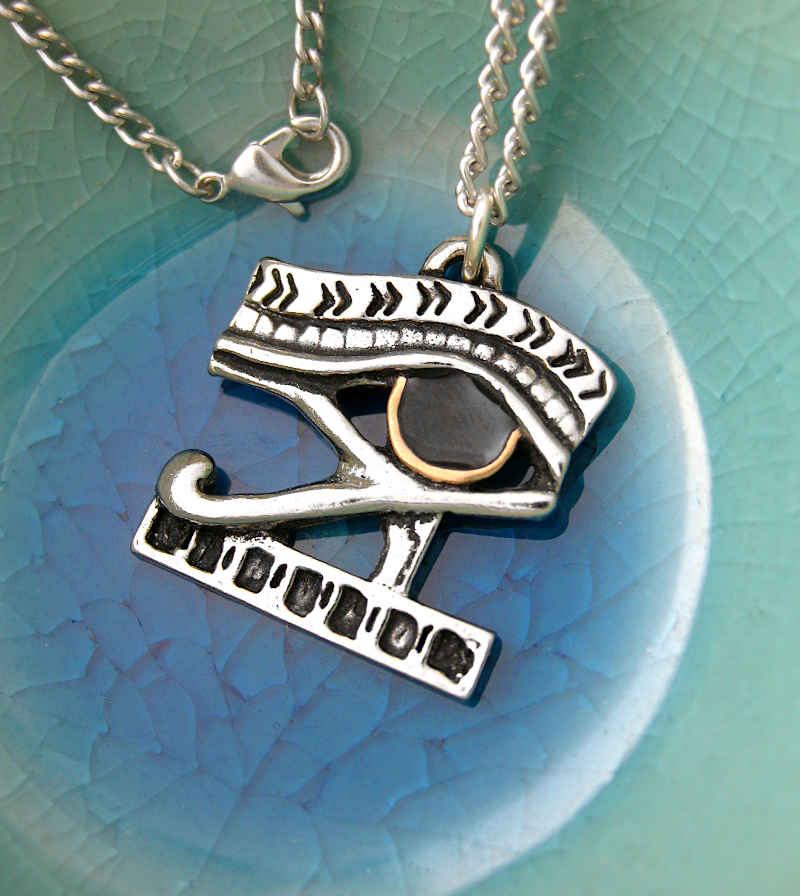 Eye of Horus Amulet Pendant in Pewter with Gold and Enamel | woot & hammy