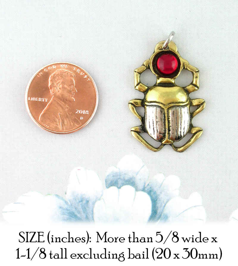 Egyptian Scarab Amulet Pendant With Red Crystal | woot & hammy