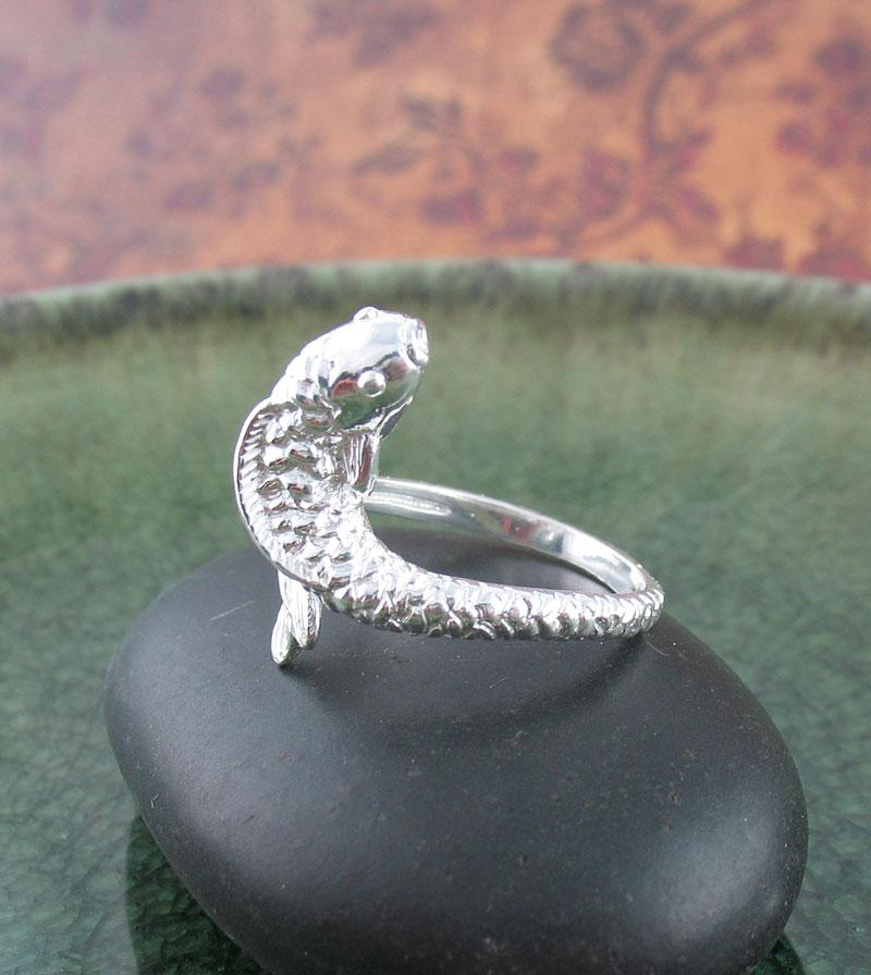 Elegant Koi Goldfish Carp Fish Wrap Ring, Adjustable Sterling Silver