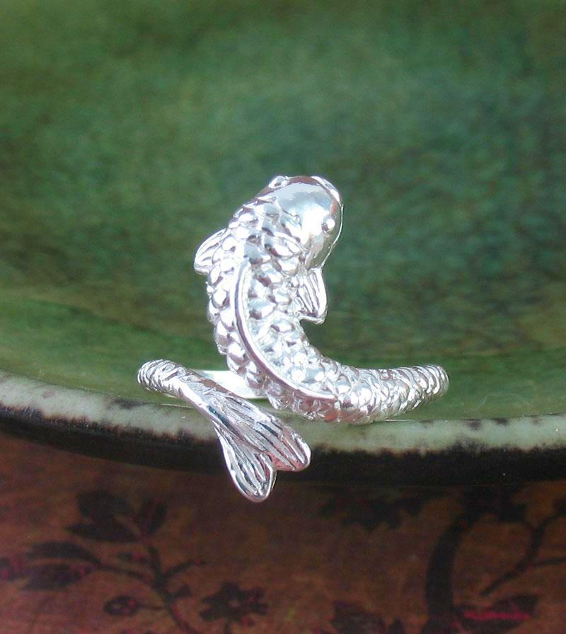 Elegant Koi Goldfish Carp Fish Ring, Adjustable Sterling Silver