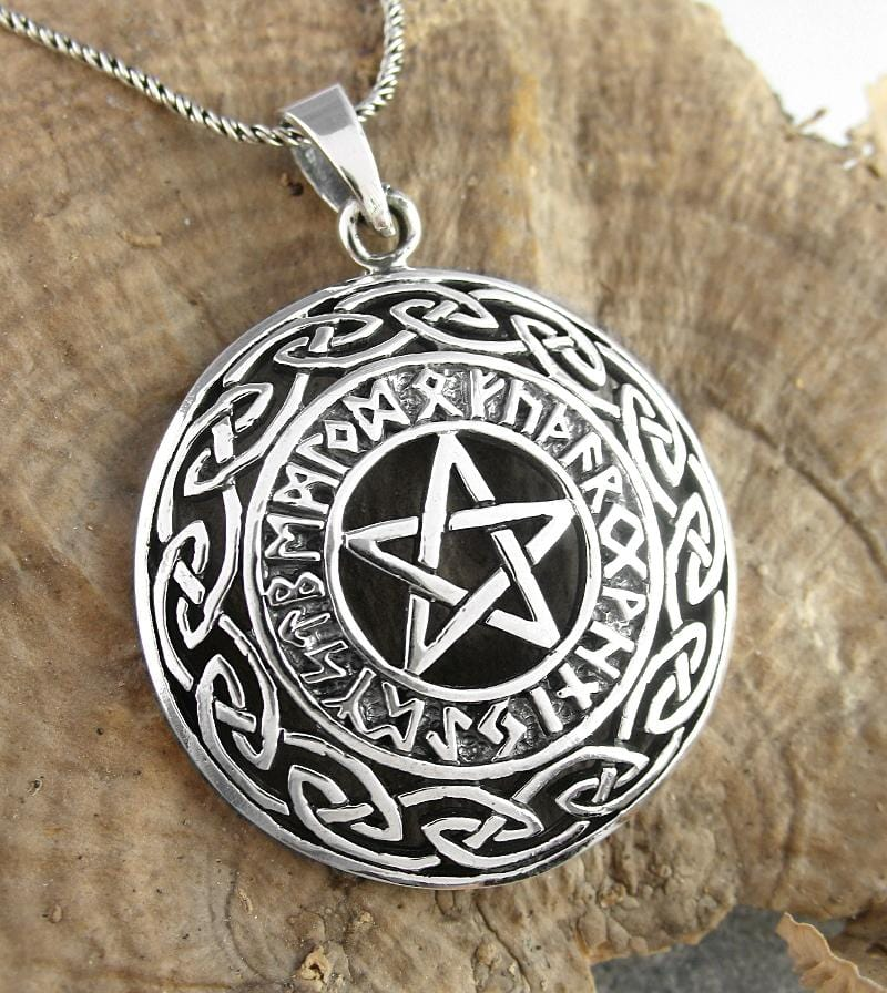 Pentacle Necklace With Runes and Celtic Knots - woot & hammy