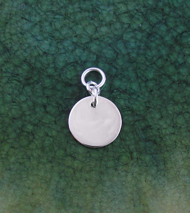 Small Engravable Circle Charm Sterling Silver