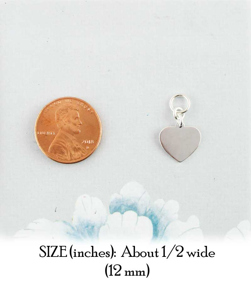 Small Engravable Heart Charm Sterling Silver 12 mm