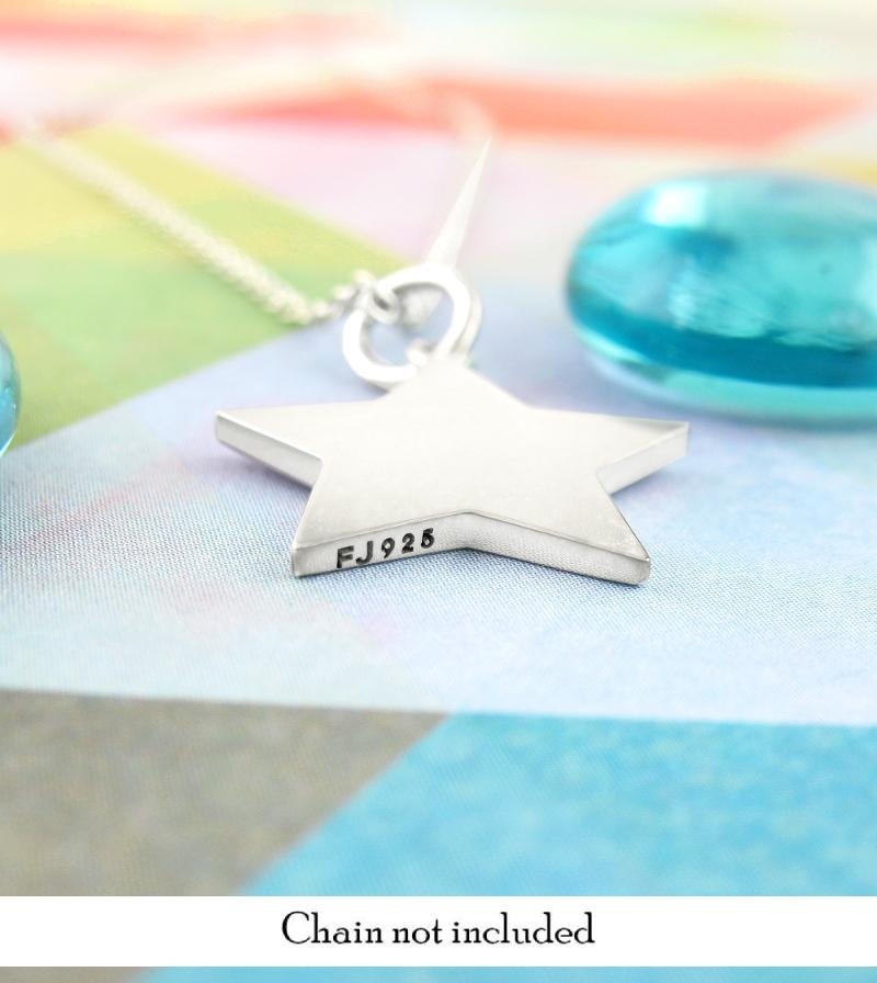 Engravable Star Pendant Necklace Sterling Silver