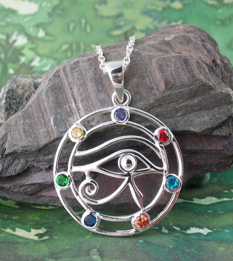 Eye of Horus Necklace with Chakra Crystals Sterling Silver CZ
