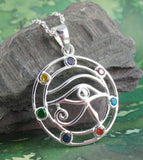 Eye of Horus Pendant with Chakra Crystals