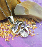 Eye of Horus Ra with Lotus Blossoms Necklace Sterling Silver